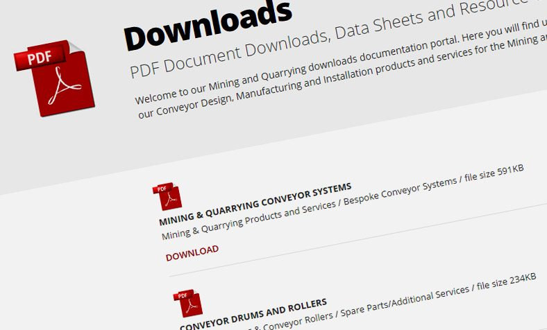 Download Documentation relevant to the Mining and Quarrying Conveyor Systems