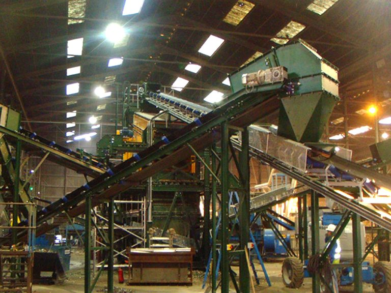 40 TPH Glass Recycling System. System included 9 conveyors