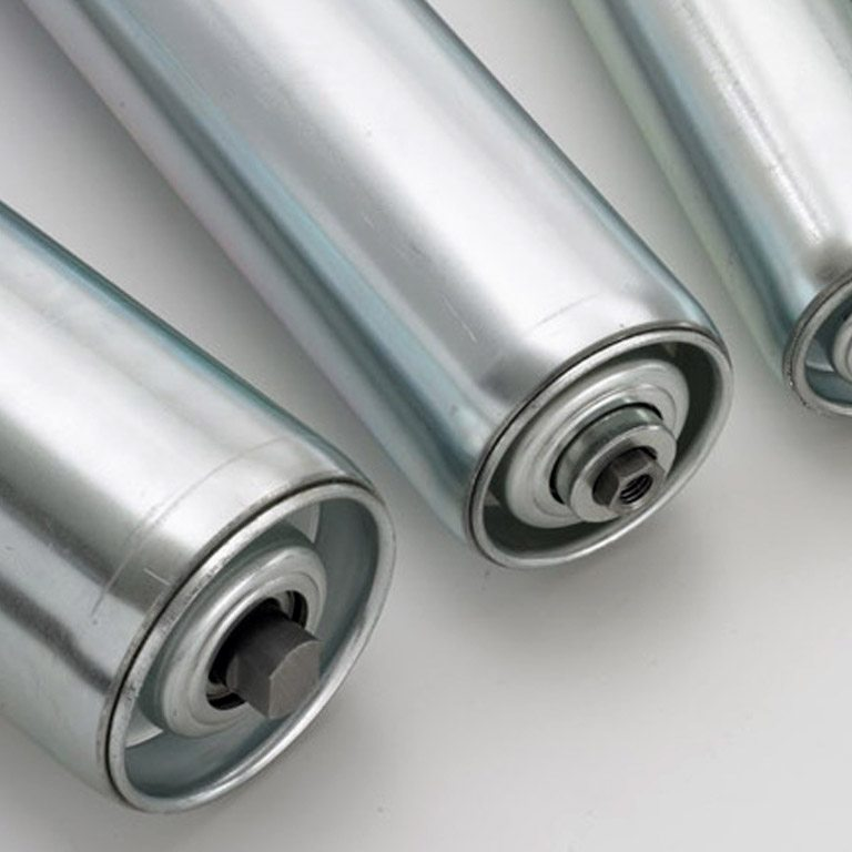 Conveyor Rollers - Gravity Rollers are available in painted mild steel, stainless steel and with further options for PVC rollers